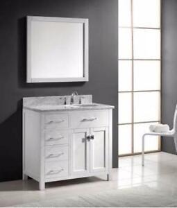 "36"" White Bathroom Vanity- COMPLETE SET"