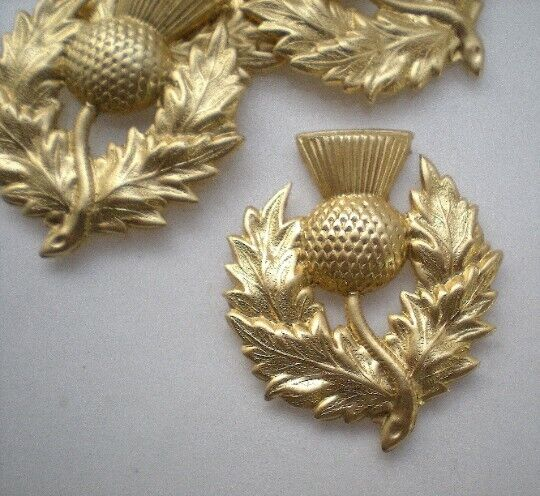 4 brass thistle stampings