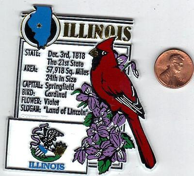 ILLINOIS  STATE MONTAGE FACTS MAGNET with state  bird  flower  and flag,