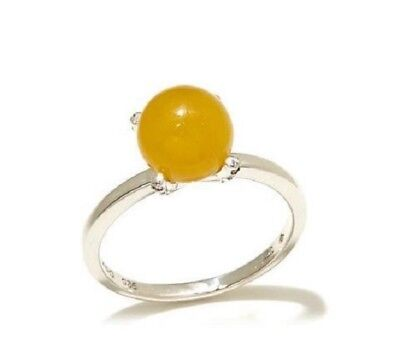 Jade of Yesteryear Yellow jade Sterling Silver Solitaire with CZ Accents Ring 11