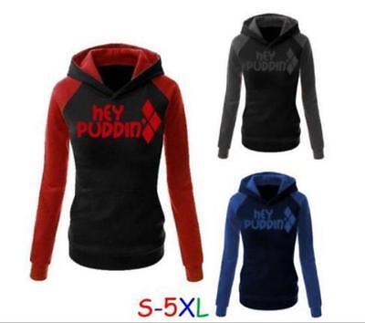 3 Color Hat hoodies Squad Harley Quinn Printed Pullover Pocket hoodie S-5XL - Harley Quinn Hoodie