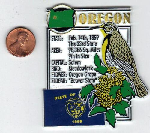OREGON STATE MONTAGE FACTS MAGNET SALEM  with state  bird  flower  and flag,