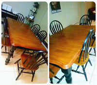 MUST GO TODAY.Beautiful extendable table with 6 chairs 350$