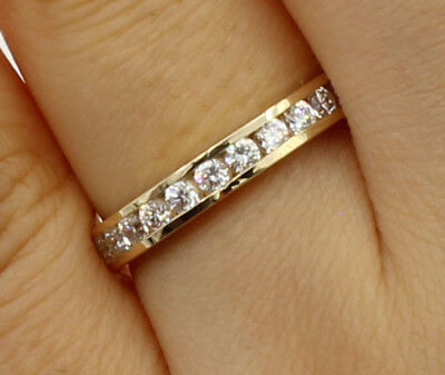 Wedding Set Yellow Gold Setting (0.50 Ct 14K Real Yellow Gold Round Cut Channel Set Wedding Anniversary Ring)
