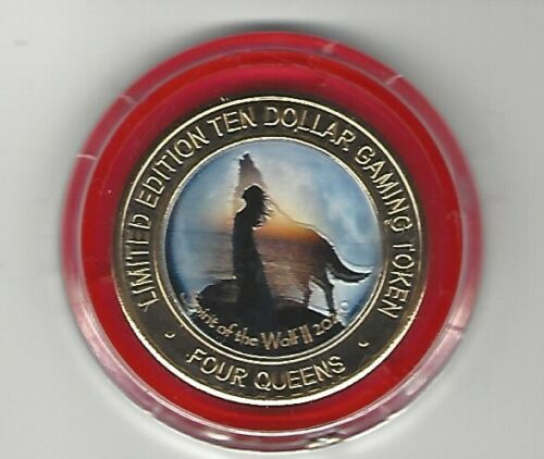 2020 FOUR QUEENS $10 Silver Strike RED Cap Spirit of the Wolf