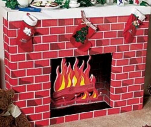 VintageSTurdy Christmas Winter Cabin Cardboard Fireplace Hearth Home church work