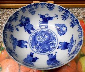 Meiji Period Japan Arita Imari Karako Blue White Porcelain Bowl (signed )