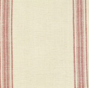 Moda French General Toweling Rural Jardin Natural & Red - per 1/2 yard