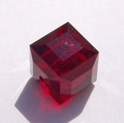 (Swarovski cube Austrian crystal beads faceted Siam red choose size)