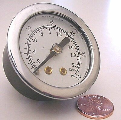 30 Psi Center Back Mount Pressure Gauge 1 12 Dial 2