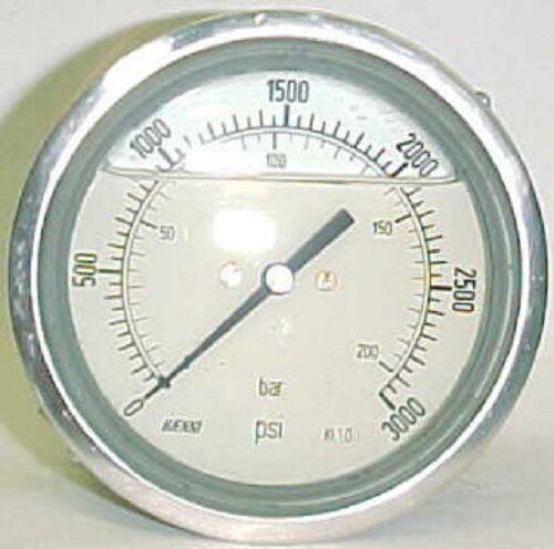 "Haenni 3000 Psi 4"" Ss Dial Liquid Filled Bourdon Pressure Gauge Dro100-453-233"