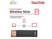 Sandisk Connect 64gb Wireless Stick, Extended Wireless Storage For iphone and Android, Brand New