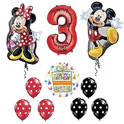 Mickey and Minnie Mouse Full Body 3rd Birthday Supershape Balloon - Mickey And Minnie Balloons
