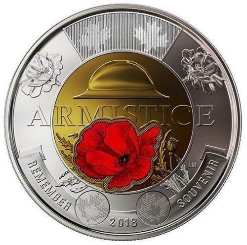 2018 CANADA ARMISTICE 2 Dollar Coin - TWONIE; BU from roll; COLORED POPPY