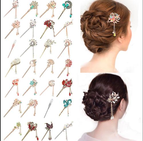 Chinese Style Hair Stick Women Metal Rhinestone Hair Chopsticks Hairpin Jewelry