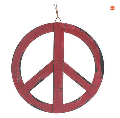 12''x12'' Red Rustic Metal Ornament Groovy Peace Sign Hanging Wall Door Decor - Peace Sign Ornaments