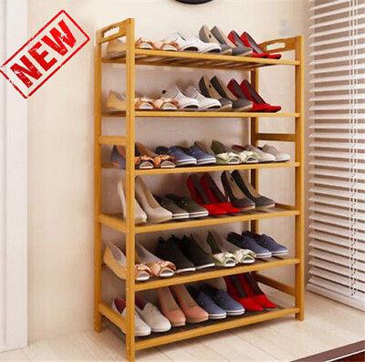 Bamboo Shoe Rack 6 Layers Entryway Shoe Shelf Holder Storage Organizer Furniture