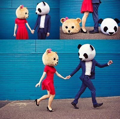 2018 Hot Adult Halloween Lover Heads Panda & Teddy Bear Mascot Costume for Lover - Hot Halloween Costumes For Adults