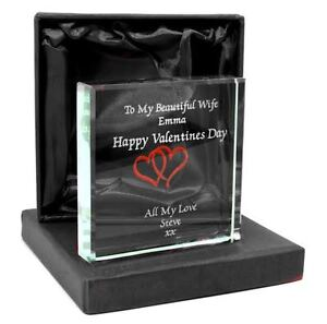 Personalised Jade Glass Block, Laser Engraved With Valentines Hearts, Gift Box