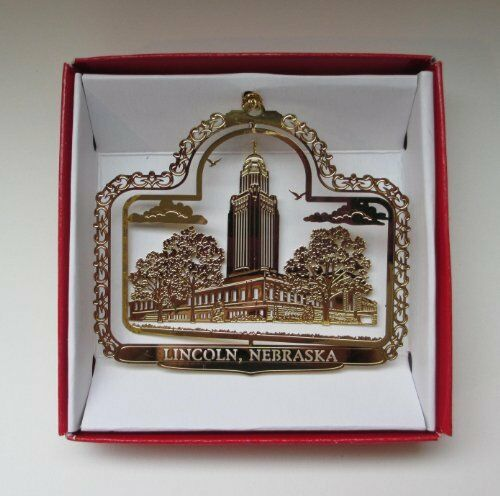 Lincoln Nebraska Ornament Brass
