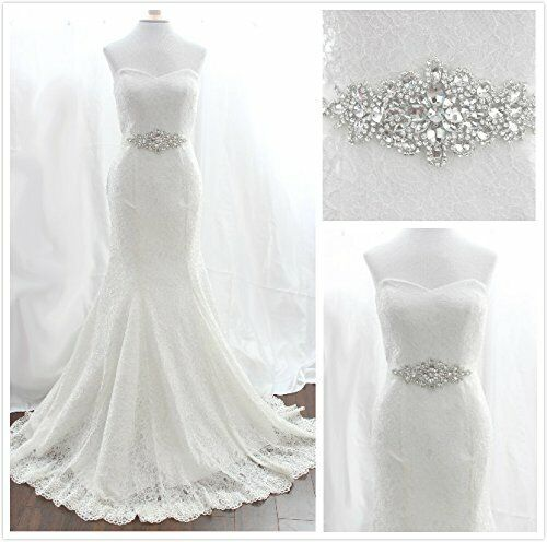 Rhinestone Wedding Sash Bridal Belt Crystal Applique with White Ribbon Wedding D
