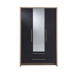Camden 3 Door 2 Drawer Wardrobe With Mirror - Light Oak And Grey Gloss