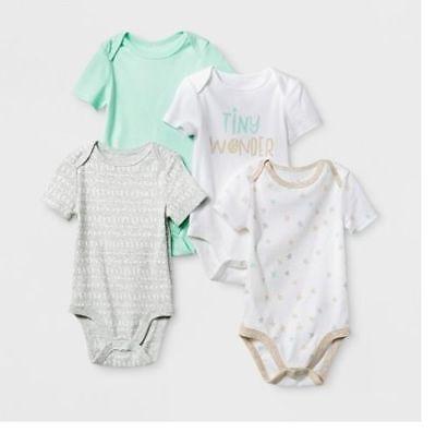 4 Pack Short Sleeve BodySuit T-Shirt Baby Boy or Girl 12 Months Cloud Island