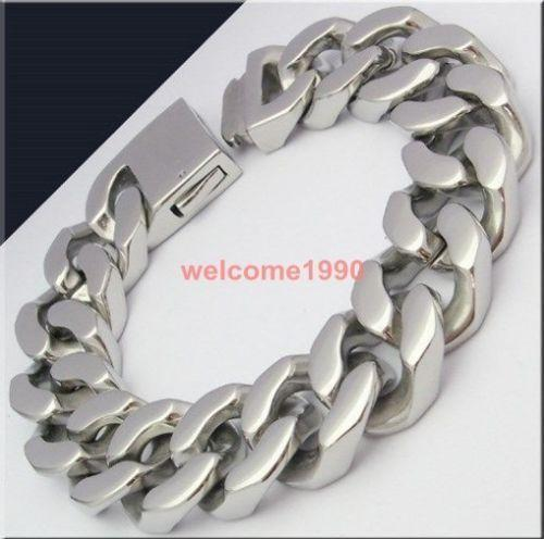 mens heavy silver bracelet ebay