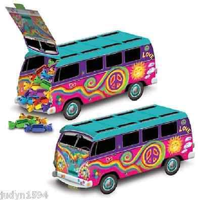 HIPPIE BUS COMBI VAN CENTREPIECE PARTY TABLE GROOVY PEACE FAVOR TREAT LOOT BOX - Hippie Centerpieces