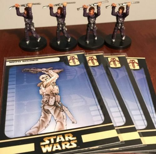 Huge Lot of 4 Nikto Soldier Star Wars Miniatures 55/60 Game Figures with Cards