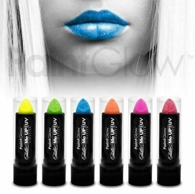 ROSSETTO labbra UV fluorescente con brillantini glitter trucco 5 colori a scelta