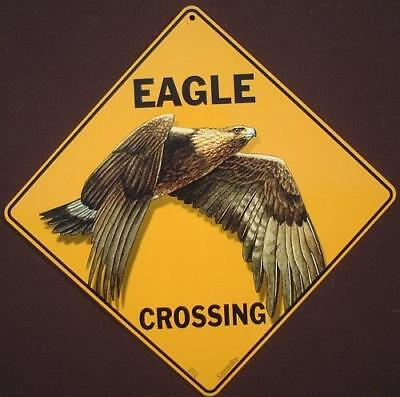 GOLDEN EAGLE CROSSING Sign decor birds novelty wildlife home signs art animals