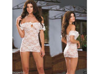 LADIEs WOMENs SEXY WHITE LACE LINGERIE NIGHTWEAR BODY & G-STRING BABYDOLL LOOK.*