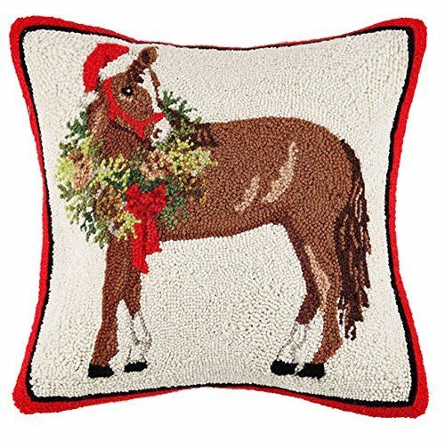 "Horse Christmas Wreath 18"" Hooked Wool Pillow"