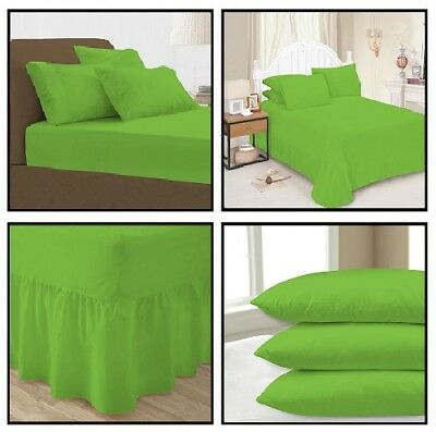 Lime Green Plain Dyed Fitted Flat Valance Bed Sheets Pillow Case All sizes ()