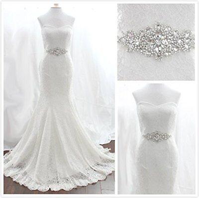 TRLYC Rhinestone Applique With White Ribbon Wedding Sash Wedding Dressing Belt](Sash Belt)