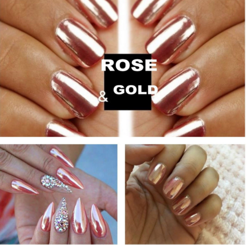 Mirror Powder Chrome Effect Pigment Nails Rose Gold Silver Nail Art Decor