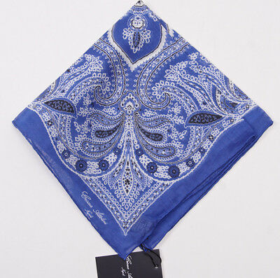 NWT CESARE ATTOLINI NAPOLI Blue Paisley Lightweight Cotton-Silk Pocket Square