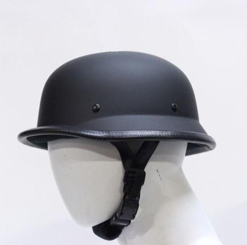 Low Profile German Novelty Flat Black Motorcycle Half Helmet Cruiser Chopper