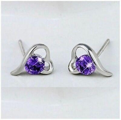 1 Pair Purple Heart Crystal Ear Stud Silver Plated Women Earrings Summer Wedding Purple Heart Crystal