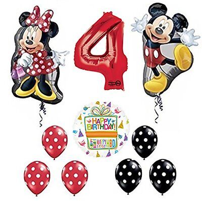 Mickey and Minnie Mouse Full Body 4th Birthday Supershape Balloon - Mickey And Minnie Balloons