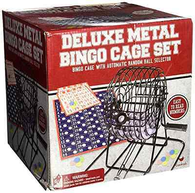 New Deluxe Wire Cage Bingo Set Cards Balls Party Complete Family Game Rotary Fun