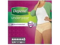 """New boxed """"Depend Dry 5"""" underwear for women size s/m 60 items sealed"""