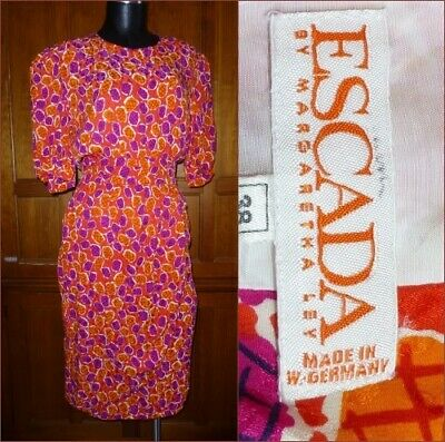 80s Dresses | Casual to Party Dresses Vtg 80s ESCADA Margaretha Ley SILK Faux Wrap Skirt Pockets Sheath Cocktail DRESS $47.20 AT vintagedancer.com