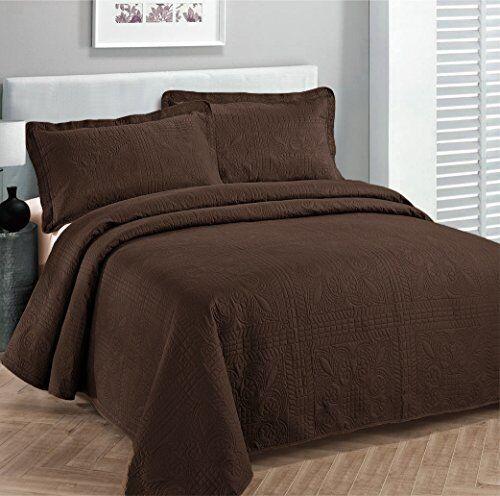 Fancy Linen Oversize Luxury Embossed Bedspread Solid Brown/C