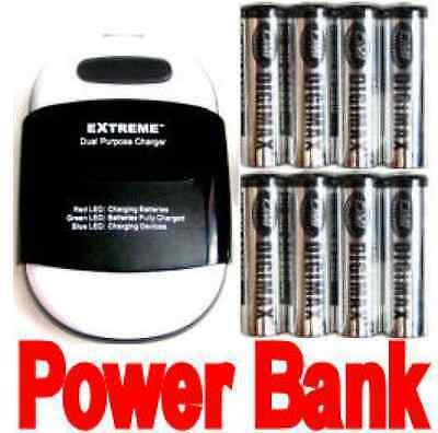 Extreme Phone Power Bank/AA/AAA NiMH Charger+8 AA 29850mah Rechargeable battery.