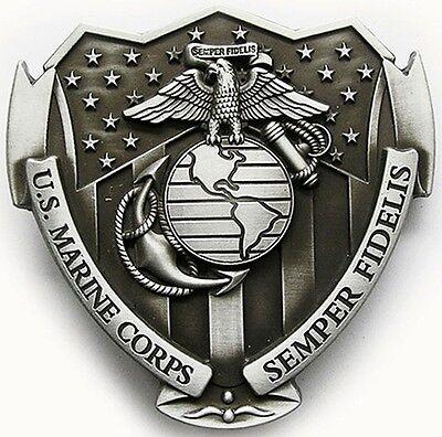 USMC Marine Corps Belt Buckle U.S. SEMPER FIDELIS EGA w Flag on Shield