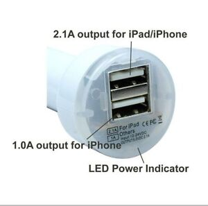 DOUBLE USB CAR CHARGER CAN BE USED FOR IPHONE, IPOD, SAMSUNG, MP