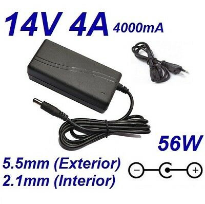 Cargador Corriente 14V 4A 4000mA 5.5mm 2.1mm 56W Cable Alimentacion Adaptador