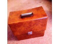 """VINTAGE RECORD CASE/BOX, BROWN, 1960's, 12"""" LP's, VINYL ALBUMS. VERY CLEAN NO KEY"""